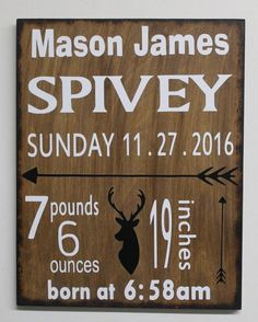 Baby Birth Stats Sign Personalized Woodland Nursery Decor - Arrow DEER Tribal Nursery - Wooden Wall Art - Baby Boy Sign HUNTING Rustic sign