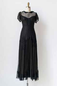 vintage 1930s black gown / 30s dress / Poeme of Beaus Gown