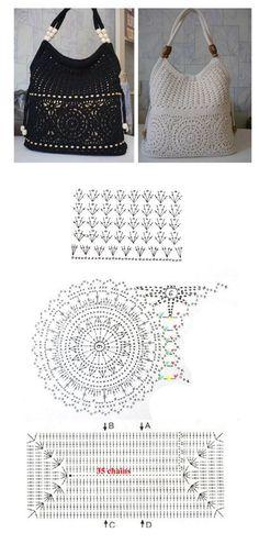 Crochet squares bag - chart &a