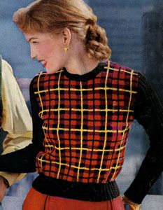 Wallace Tartan Pullover knit pattern from Tartans, Clark's O.N.T. J. Coats, Book No. 501, in 1951.