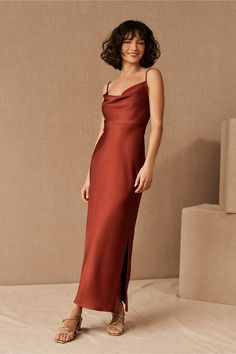 Satin Midi Dress, Satin Dresses, Gowns, Lace Dress, Orange Bridesmaid Dresses, Wedding Dresses, Bridesmaids, Wedding Attire, Prom Dresses