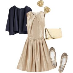 gold with pop of blue. Dresses with cardigans are so cute.