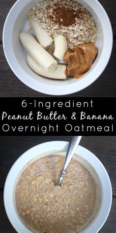 Peanut Butter Banana Overnight Oats (Only 6 Ingredients!) I'm jumping on the overnight oatmeal bandwagon with a six-ingredient overnight oats recipe that's so, so decadent. It tastes like oatmeal cookies, y'all. Oats Recipes, Smoothie Recipes, Gourmet Recipes, Rice Recipes, Cookie Recipes, Porridge Recipes, Honey Recipes, Flour Recipes, Shrimp Recipes