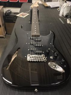 G&L Musical Instruments Here's a Comanche Semi-Hollow in Blackburst over swamp ash, black guard, black covers and knurled knobs, rosewood board, Clear Satin neck finish. G&l Guitars, Custom Guitars, Guitar Scales, Metal Drum, Guitar Pics, Guitar Collection, Beautiful Guitars, Black Cover, Musical Instruments