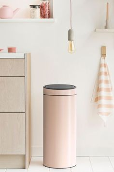 Perfect for a busy home or office, the Brabantia Touch Trash Can offers both a spacious and sleek design. Can opens quietly and smoothly even with the lightest touch. Hidden Trash Can Kitchen, Kitchen Trash Cans, Hide Trash Cans, Trash Bins, Cute Kitchen, Stylish Kitchen, Kitchen Ideas, Bedroom Trash Can, Recycle Cans