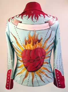 Items similar to SOLD - Sacred Heart Western Show Jacket - Rodeo Queen Pageant Western Pleasure - Tailored Ladies Nudie Manuel Nashville Show Clothing on Etsy Cowgirl Outfits, Cowgirl Style, Western Style, Sexy Cowgirl, Western Shirts, Western Wear, Kinds Of Clothes, Diy Clothes, Show Jackets