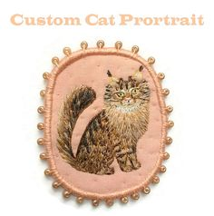 Personalized Custom Cat Portrait - Cat Brooch, hand embroidered textile pet jewelry art  Hand embroidered cat portrait brooch is a wearable piece of