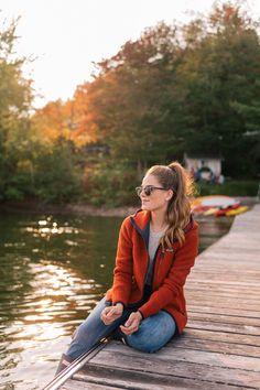 Gal Meets Glam Sunrise & Sunset on Lake Miassawippi -Patagonia jacket & Monrow tee c/o Back Country, & Sezane jeans