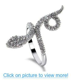 Passion-Jewel (D569YR5851R) Round Cut Clear White CZ Platinum Plated Rings Cubic Zirconia Snake Ring For Women