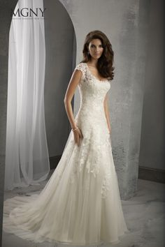 39025 Crystal beaded lace and net Overlaying satin slip gown