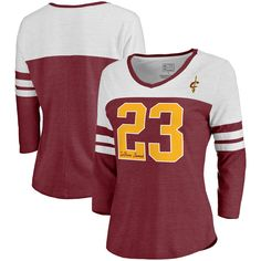 LeBron James Cleveland Cavaliers Fanatics Branded Women s Starstruck Name    Number Tri-Blend 3 4-Sleeve V-Neck T-Shirt - Wine f2dffea55