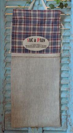 """Sac à pain vintage campagne en kelsch bleu/écru/rouge et lin inscription """"Sac à Pain"""" : Autres sacs par rouge-lin-et-bois"""