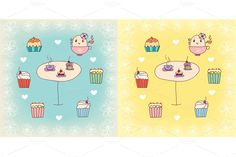 Tea and delicious cakes and muffins. the set includes 4 illustrations and 2 two seamless pattern. zip: eps (+ large JPG)