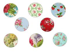 """FREE PRINTABLE - 2"""" circles in floral prints for scrapbooks, tags, cupcake toppers, jewelery kits."""