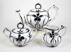 Vintage German Porcelain Teapot Tea Set Art Nouveau Silver Overlay Split Handle #ArtNouveau #Unbranded
