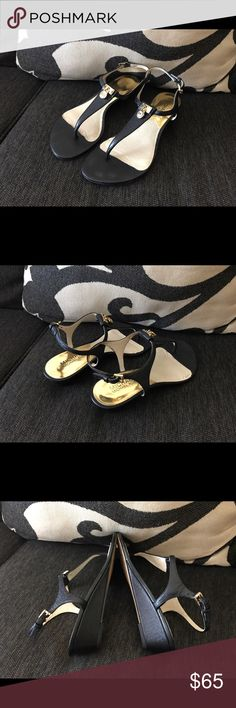 Michael Kors - Black Hamilton Thong Wedge! 💯% Authentic Beautiful Pre-Owned Michael Kors Black Hamilton Thong Wedge Size 6! In Good Condition! Reasonable Offers Welcome! Happy Poshing. Michael Kors Shoes Sandals