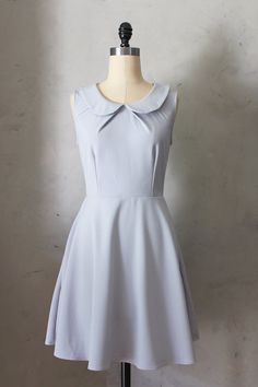 50% OFF SALE Provence Gray - Round collar dove fit & flare dress / bridesmaids / neck pleat / vintage inspired / day / spring / party
