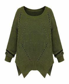 Irregular Hem Hollow Out Knitting Pullover - No pattern just an interesting sweater.