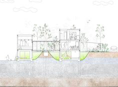 House with Retaining Wall of the Town . Young Vic, Floor Plans, Layout, How To Plan, Studio, Architecture, Drawings, Wall, Projects