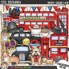 """British / London clip art and line art bundle!""""Cool Britannia"""" includes 23 British clipart illustrations created from my original hand painted artwork! Each design comes supplied as a full colour png, as well as black and white outline versions (in png and jpeg formats)."""