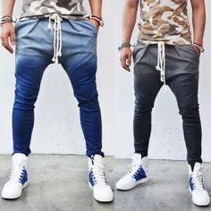 Gradation Wash Rope Denim Slim Baggy-Sweatpants 46