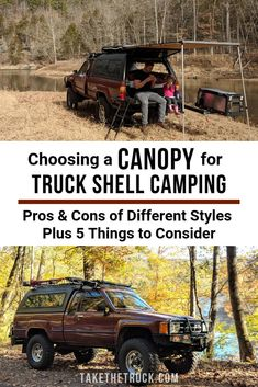 A good truck shell topper is important when building out your pickup into a truck bed camper. Check out our post to learn some pros and cons of different types of truck bed toppers. Pickup Camping, Truck Bed Camping, Camping Canopy, Camping Ideas, Truck Tent, Kayak Camping, Camping Outdoors, Glamping, New Trucks