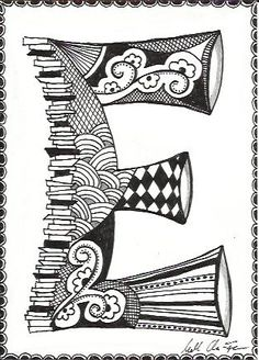 March Doodle Day - Zentangle E Doodle Lettering, Lettering Design, Typography, Doodles Zentangles, Zentangle Patterns, Doodle Alphabet, Doodle Art Designs, Tangle Art, Doodle Drawings