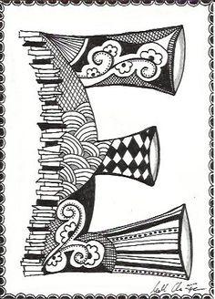 March Doodle Day - Zentangle E Doodle Lettering, Lettering Design, Typography, Doodles Zentangles, Zentangle Patterns, Doodle Drawings, Doodle Art, Arabesque, Doodle Alphabet