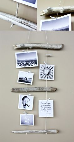 Kreativ Fotos aufhängen – Mit Holz und Garn Creative photos hanging – with wood and yarn As you dru photos on woodDropped tree branch with hit's a jungle in here Driftwood Projects, Driftwood Art, Driftwood Ideas, Driftwood Mobile, Painted Driftwood, Driftwood Beach, Beach Crafts, Diy Crafts, Frame Crafts