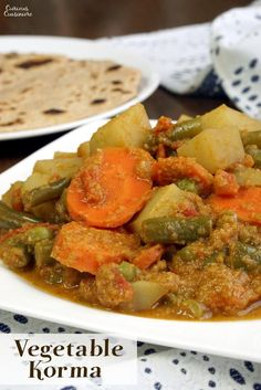 South Indian Vegetable Korma is a creamy coconut curry that is light on spice but big on flavor. This tasty dish is easy enough for a weeknight dinner! Indian Food Recipes, Asian Recipes, Vegetarian Recipes, Cooking Recipes, Ethnic Recipes, Bread Recipes, Veg Recipes, Curry Recipes, Chili Recipes