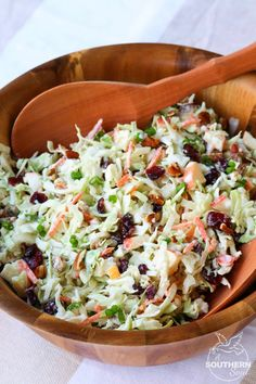Cranberry pecan slaw Take your coleslaw to a whole new level with sweet, tangy cranberries and crunchy pecans. Mix in an apple and some savory green onions then toss it all in a creamy dressing for a dish that's an amazing side for any gathering! Veggie Dishes, Vegetable Recipes, Food Dishes, Vegetarian Recipes, Cooking Recipes, Healthy Recipes, Cooking Pork, Christmas Vegetable Dishes, Vegetable Salad Recipes