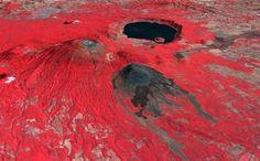 Volcán de Santa Ana en El Salvador, foto en falso-color