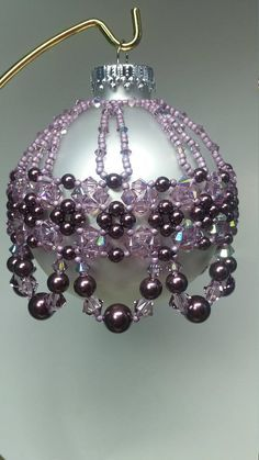 Swarovski Light Amethyst AB with Burgundy Pearls Beaded