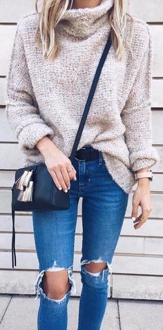 Grey Wool Turtleneck / Destroyed Skinny Jeans / Navy Leather Shoulder Bag