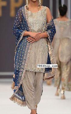 Sand Grey Chiffon Suit | Buy Pakistani Fashion Dresses and Clothing Online in USA, UK