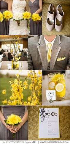 I love the grey dresses with the bright yellow flower! Also love the table decor of the yellow flower and lemons!!!