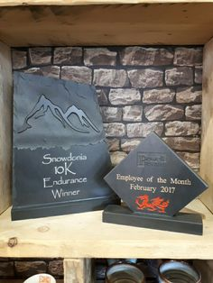 As well as our laser engraved plaques, we know handcraft Premium Awards.  Our Welsh slate Premium Awards are 20mm thick, deep engraved and hand painted.  Find out more in store or online at www.valleymill.co.uk/products/awards