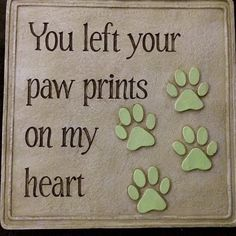 Glow in the Dark Pet Memorial Plaque Garden Grave Dog Cat Paw Print On Heart New #PlowHearth