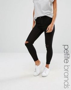 New Look Petite Slash Knee Skinny Jeans