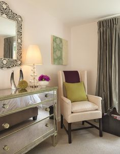 Our Borghese Mirrored 3 Drawer Chest adds instant dimension to this boston bedroom. Photo: Rachel Reider Interiors