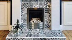 Heat Resistant Tiles: Can you use tiles around a wood burner? Heat Resistant Tiles: Can you use tiles around your wood burner? Tile Around Fireplace, Wood Burner Fireplace, Grey Fireplace, Living Room With Fireplace, Fireplace Surrounds, Living Room Decor, Fireplace Tiles, Living Rooms, White Laminate Flooring