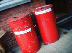 Oude vuilnisbakken. #vintage #vuilnisbak  By: Rawcreations Bvba. On: Instagram.