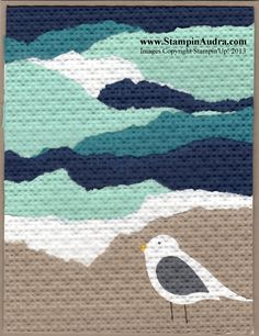 handmade greeting card ... beach scene with torn paper lines and a bird punch seagull .. embedded with embossing folder textures ... looks like an applique quilt ... Stampin' Up!