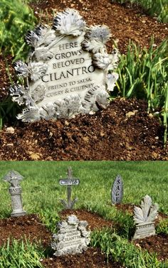 Gardening Herbs - Turn the unsightly bare earth of your herb garden into a charming old cemetery by planting mini gravestones! This is a simple, if slightly morbid, way to make us. Witchy Garden, Diy Garden, Herbs, Plants, Herb Garden, Gothic Garden, Backyard Garden, Fairy Garden, Backyard