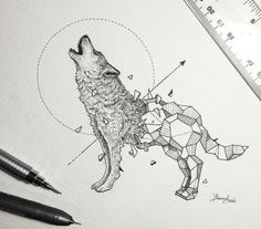 Geometric wolf tattoo design • Visit artskillus.ru for more tattoo ideas