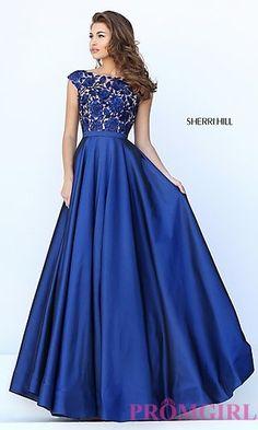 Cap Sleeve Floor Length Sherri Hill Prom Dress at PromGirl.com