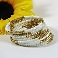 Beaded memory wire bracelet white and gold beaded bracelet   New item in my shop - come check it out!