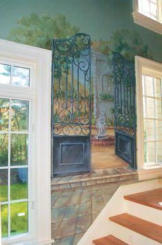 Hand Painted Garden Gate Mural in a Hallway by artist Renee' MacMurray