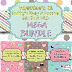 Valentine's Day, St. Patrick's Day, and Easter Activities!   These 3 products will allow your students to have fun with jelly beans while still engaging them in learning! Each holiday themed product includes 4 math worksheets, 3 writing worksheets, and one art worksheet all using seasonal treats. TpT: https://www.teacherspayteachers.com/Product/Valentines-Day-St-Patricks-Day-and-Easter-Activity-Bundle-2306964