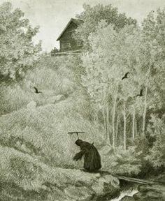 Kittelsen-0110 - Pesten - det kommer en kärring Black Art, Black Metal, Theodore Kittelsen, All Falls Down, Winter Fairy, Summer Landscape, Halloween Town, Various Artists, S Pic